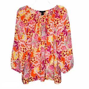 CHAPS bright floral georgette peasant blouse   XL